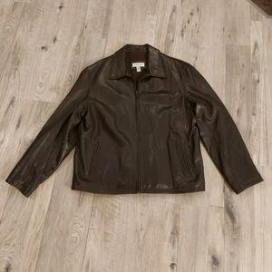 Men's Calvin Klein  Leather Jacket Brown Size XL